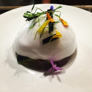 Ono ceviche with coconut water foam