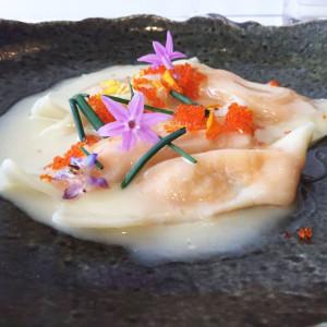 Poached scallop ravioli