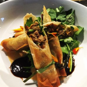 Prawn and roasted Chinese duck lumpia