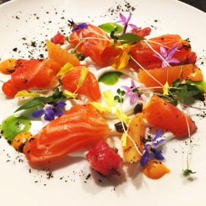 Sake cured steelhead salmon