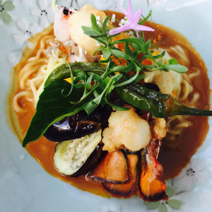 Tempura lobster tail ramen